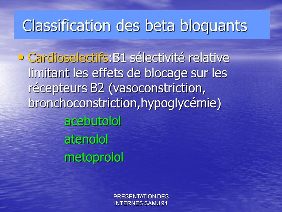 PRESENTATION DES INTERNES SAMU 94 Classification des beta bloquants Classification des beta bloquants Cardioselectifs:B1 sélectivité relative limitant les effets de blocage sur les récepteurs B2 (vasoconstriction, bronchoconstriction,hypoglycémie) Cardioselectifs:B1 sélectivité relative limitant les effets de blocage sur les récepteurs B2 (vasoconstriction, bronchoconstriction,hypoglycémie) acebutolol acebutolol atenolol atenolol metoprolol metoprolol