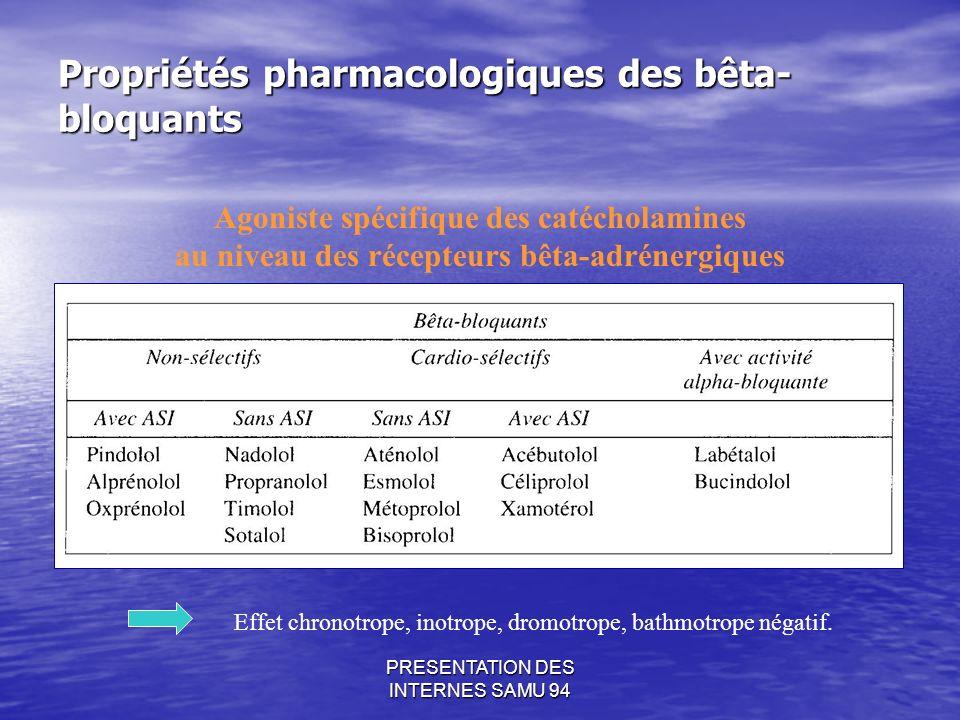 PRESENTATION DES INTERNES SAMU 94 Propriétés pharmacologiques des bêta- bloquants Agoniste spécifique des catécholamines au niveau des récepteurs bêta-adrénergiques Effet chronotrope, inotrope, dromotrope, bathmotrope négatif.