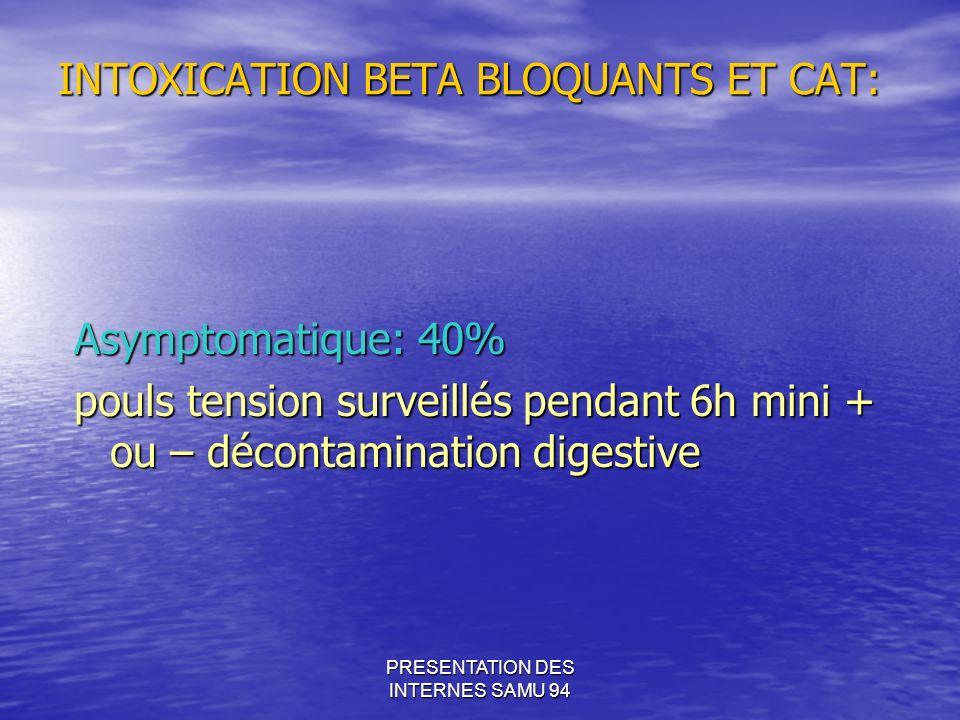 PRESENTATION DES INTERNES SAMU 94 INTOXICATION BETA BLOQUANTS ET CAT: Asymptomatique: 40% pouls tension surveillés pendant 6h mini + ou – décontamination digestive