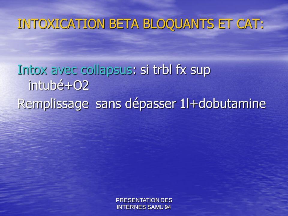 PRESENTATION DES INTERNES SAMU 94 INTOXICATION BETA BLOQUANTS ET CAT: Intox avec collapsus: si trbl fx sup intubé+O2 Remplissage sans dépasser 1l+dobutamine