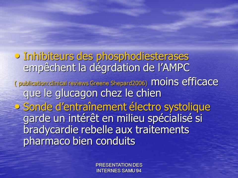 PRESENTATION DES INTERNES SAMU 94 Inhibiteurs des phosphodiesterases empêchent la dégrdation de lAMPC Inhibiteurs des phosphodiesterases empêchent la dégrdation de lAMPC ( publication:clinical reviews Greene Shepard2006) moins efficace que le glucagon chez le chien Sonde dentraînement électro systolique garde un intérêt en milieu spécialisé si bradycardie rebelle aux traitements pharmaco bien conduits Sonde dentraînement électro systolique garde un intérêt en milieu spécialisé si bradycardie rebelle aux traitements pharmaco bien conduits
