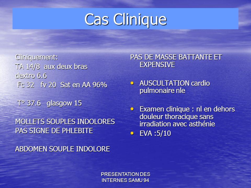 PRESENTATION DES INTERNES SAMU 94 Cliniquement: TA 14/8 aux deux bras dextro 6.6 Fc 32 fv 20 Sat en AA 96% Fc 32 fv 20 Sat en AA 96% T° 37.6 glasgow 15 T° 37.6 glasgow 15 MOLLETS SOUPLES INDOLORES PAS SIGNE DE PHLEBITE ABDOMEN SOUPLE INDOLORE PAS DE MASSE BATTANTE ET EXPENSIVE AUSCULTATION cardio pulmonaire nle AUSCULTATION cardio pulmonaire nle Examen clinique : nl en dehors douleur thoracique sans irradiation avec asthénie Examen clinique : nl en dehors douleur thoracique sans irradiation avec asthénie EVA :5/10 EVA :5/10 Cas Clinique