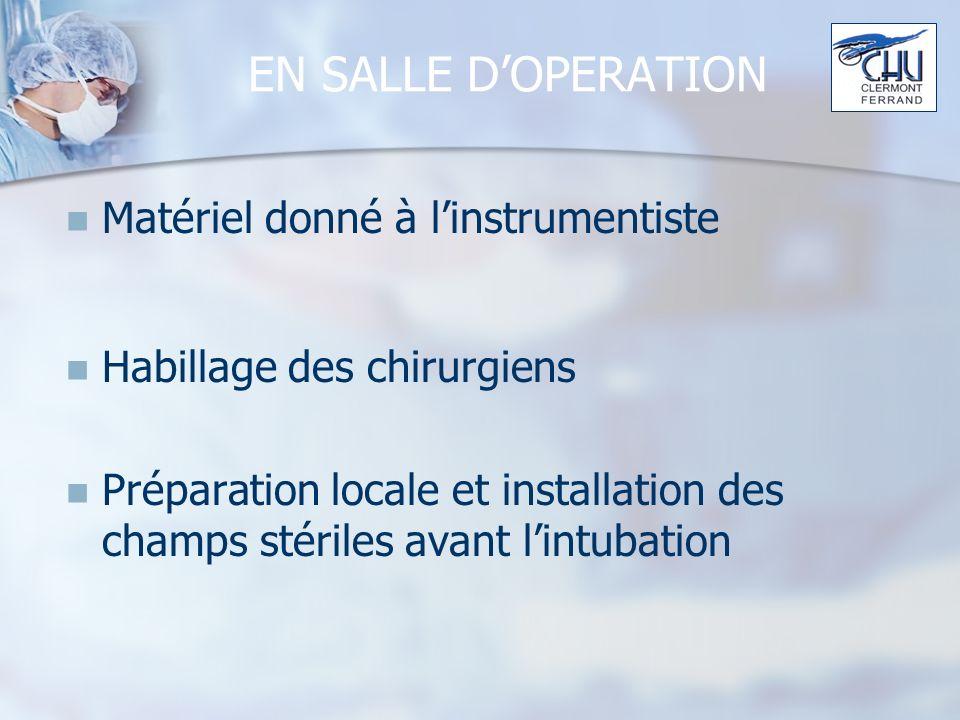 EN SALLE DOPERATION Matériel donné à linstrumentiste Habillage des chirurgiens Préparation locale et installation des champs stériles avant lintubation