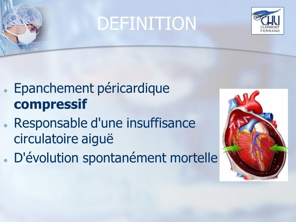 PHYSIOPATHOLOGIE (1) Augmentation de la pression intra-péricardique par accumulation de liquide, de sang, ou de caillots Diminution du remplissage du VD Diminution de léjection de VD Insuffisance cardiaque droite