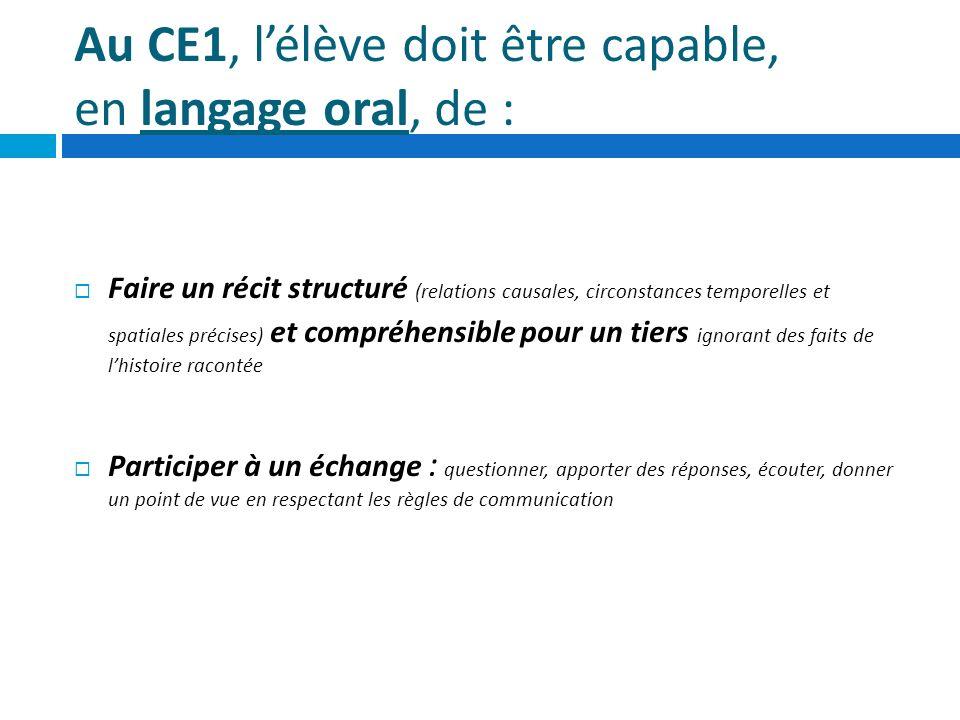 Au CE1, lélève doit être capable, en langage oral, de : Faire un récit structuré (relations causales, circonstances temporelles et spatiales précises)