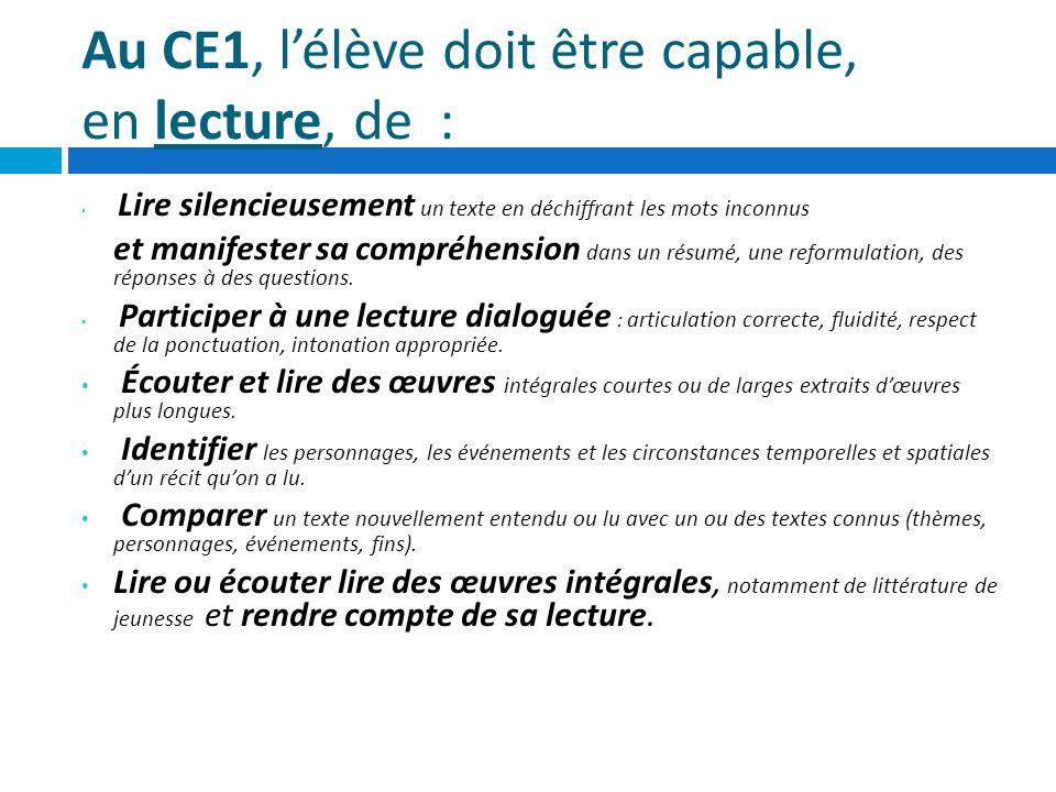 Au CE1, lélève doit être capable, en lecture, de : Lire silencieusement un texte en déchiffrant les mots inconnus et manifester sa compréhension dans
