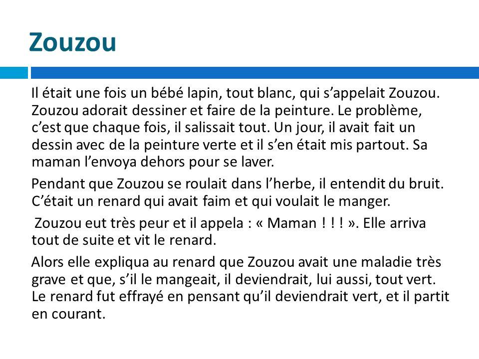 Zouzou Il était une fois un bébé lapin, tout blanc, qui sappelait Zouzou. Zouzou adorait dessiner et faire de la peinture. Le problème, cest que chaqu