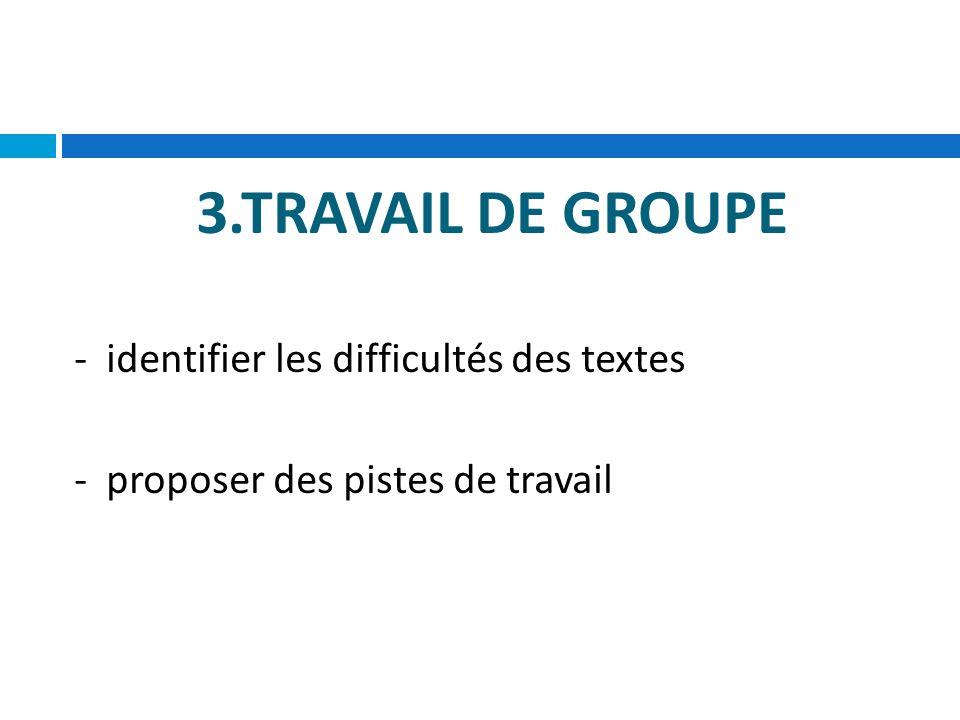 3.TRAVAIL DE GROUPE - identifier les difficultés des textes - proposer des pistes de travail