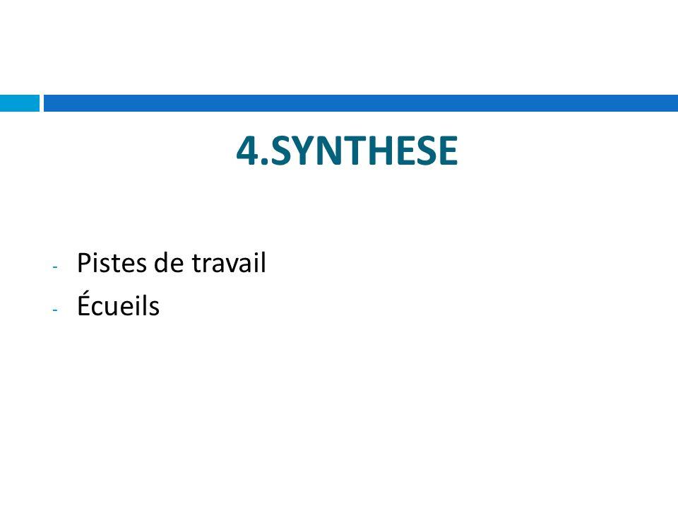 4.SYNTHESE - Pistes de travail - Écueils