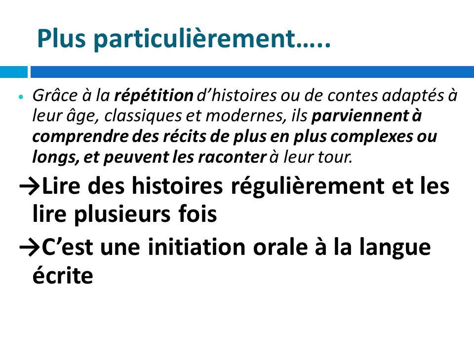 Pour progresser vers la maîtrise de la langue française En manipulant la langue, en écoutant des textes lus, les enfants sapproprient les règles qui régissent la structure de la phrase, ils apprennent lordre habituel des mots en français.