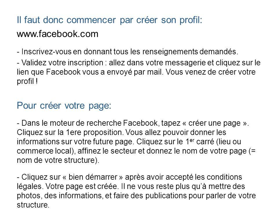Il faut donc commencer par créer son profil: www.facebook.com - Inscrivez-vous en donnant tous les renseignements demandés. - Validez votre inscriptio