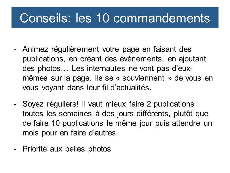 -Animez régulièrement votre page en faisant des publications, en créant des évènements, en ajoutant des photos… Les internautes ne vont pas deux- même