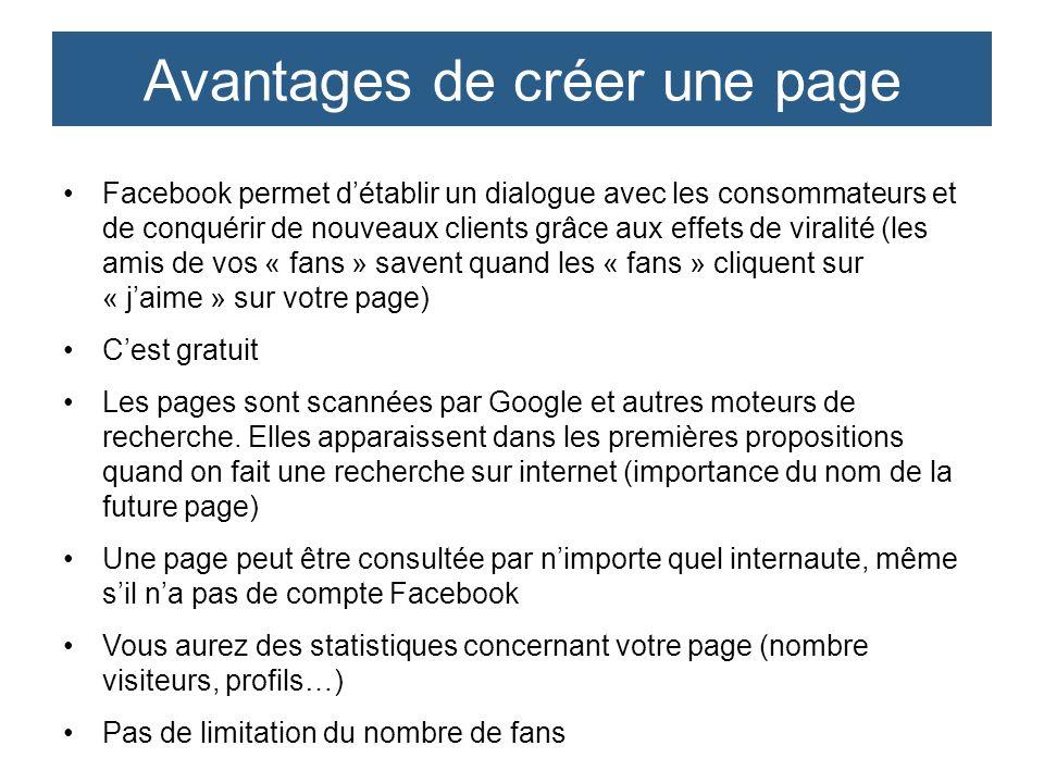 Facebook permet détablir un dialogue avec les consommateurs et de conquérir de nouveaux clients grâce aux effets de viralité (les amis de vos « fans »