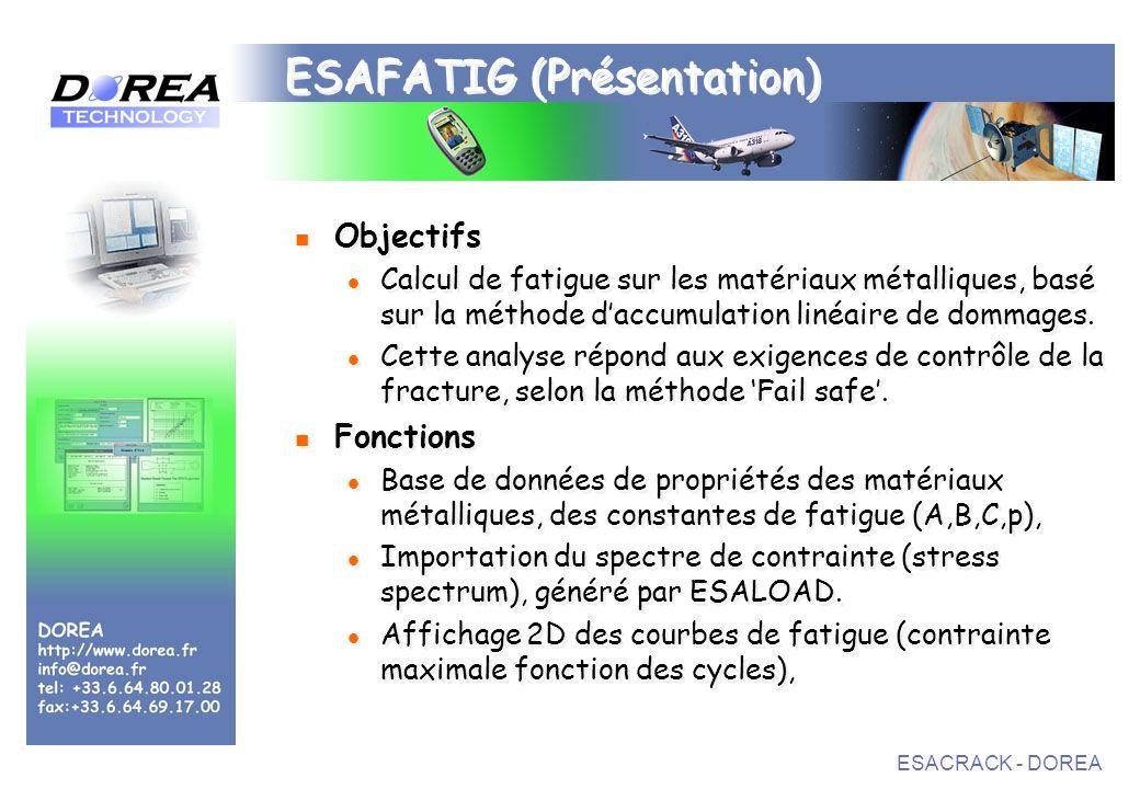 ESACRACK - DOREA ESAFATIG (Présentation) Objectifs Calcul de fatigue sur les matériaux métalliques, basé sur la méthode daccumulation linéaire de dommages.
