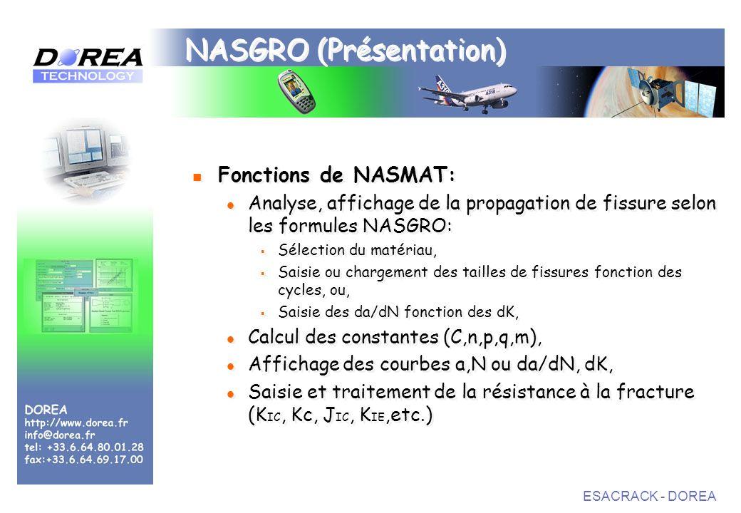 ESACRACK - DOREA NASGRO (Présentation) Fonctions de NASMAT: Analyse, affichage de la propagation de fissure selon les formules NASGRO: Sélection du matériau, Saisie ou chargement des tailles de fissures fonction des cycles, ou, Saisie des da/dN fonction des dK, Calcul des constantes (C,n,p,q,m), Affichage des courbes a,N ou da/dN, dK, Saisie et traitement de la résistance à la fracture (K IC, Kc, J IC, K IE,etc.) Fonctions de NASMAT: Analyse, affichage de la propagation de fissure selon les formules NASGRO: Sélection du matériau, Saisie ou chargement des tailles de fissures fonction des cycles, ou, Saisie des da/dN fonction des dK, Calcul des constantes (C,n,p,q,m), Affichage des courbes a,N ou da/dN, dK, Saisie et traitement de la résistance à la fracture (K IC, Kc, J IC, K IE,etc.)