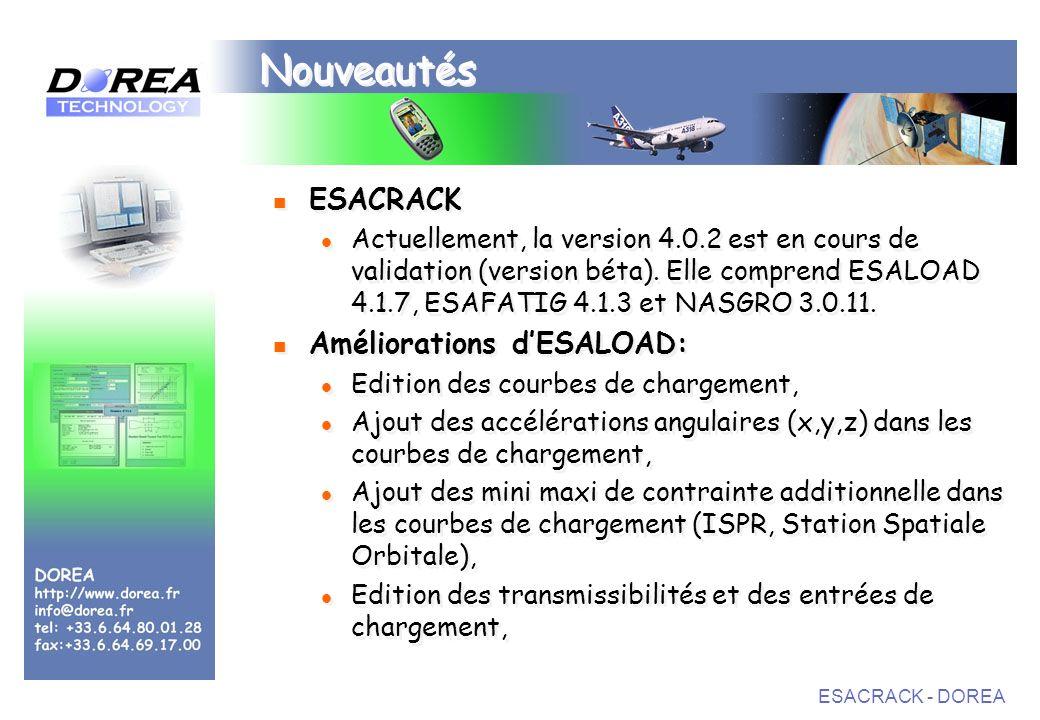 ESACRACK - DOREA Nouveautés ESACRACK Actuellement, la version 4.0.2 est en cours de validation (version béta).