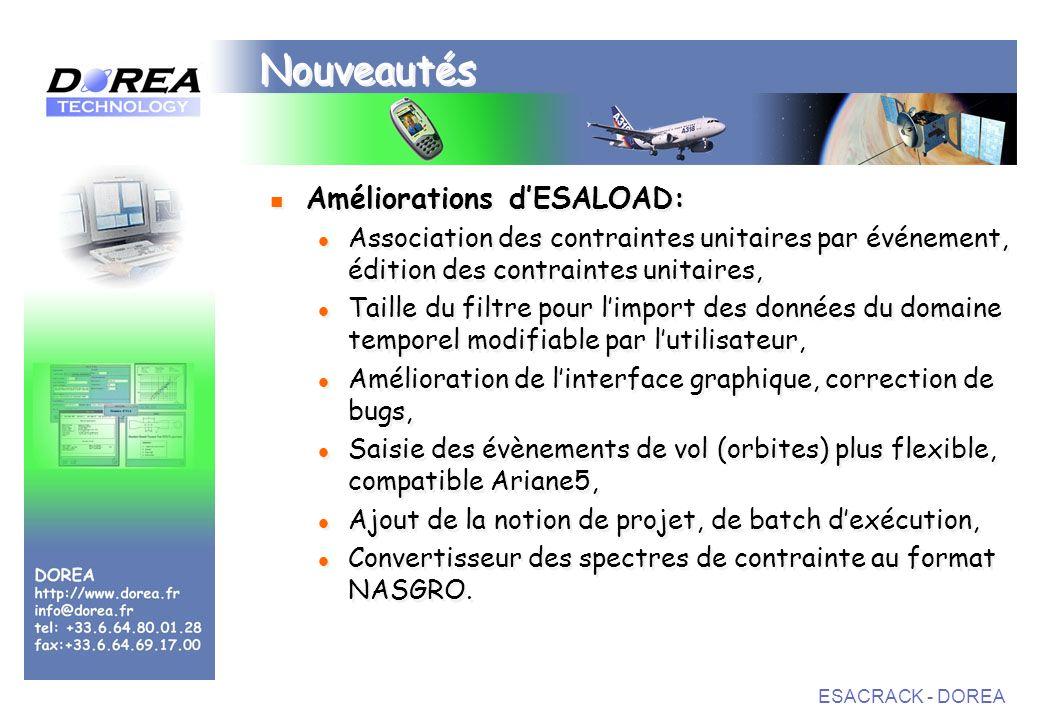 ESACRACK - DOREA Nouveautés Améliorations dESALOAD: Association des contraintes unitaires par événement, édition des contraintes unitaires, Taille du filtre pour limport des données du domaine temporel modifiable par lutilisateur, Amélioration de linterface graphique, correction de bugs, Saisie des évènements de vol (orbites) plus flexible, compatible Ariane5, Ajout de la notion de projet, de batch dexécution, Convertisseur des spectres de contrainte au format NASGRO.