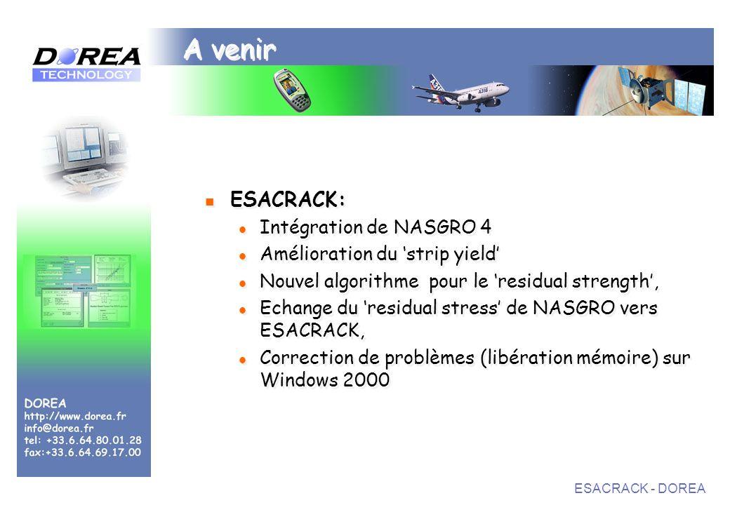 ESACRACK - DOREA A venir ESACRACK: Intégration de NASGRO 4 Amélioration du strip yield Nouvel algorithme pour le residual strength, Echange du residual stress de NASGRO vers ESACRACK, Correction de problèmes (libération mémoire) sur Windows 2000 ESACRACK: Intégration de NASGRO 4 Amélioration du strip yield Nouvel algorithme pour le residual strength, Echange du residual stress de NASGRO vers ESACRACK, Correction de problèmes (libération mémoire) sur Windows 2000