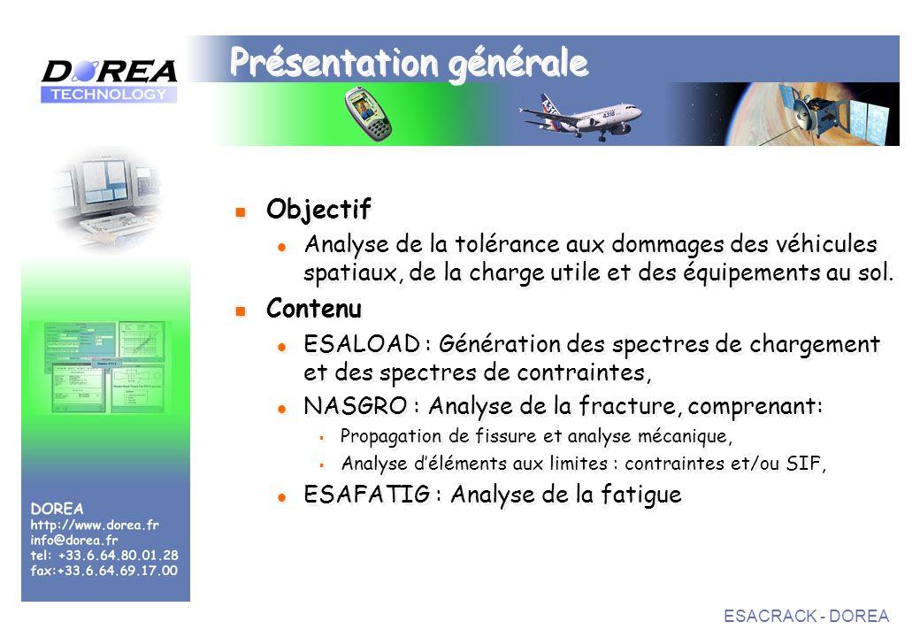 ESACRACK - DOREA Présentation générale Objectif Analyse de la tolérance aux dommages des véhicules spatiaux, de la charge utile et des équipements au sol.
