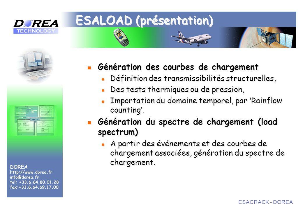 ESACRACK - DOREA ESALOAD (présentation) Génération des courbes de chargement Définition des transmissibilités structurelles, Des tests thermiques ou de pression, Importation du domaine temporel, par Rainflow counting.