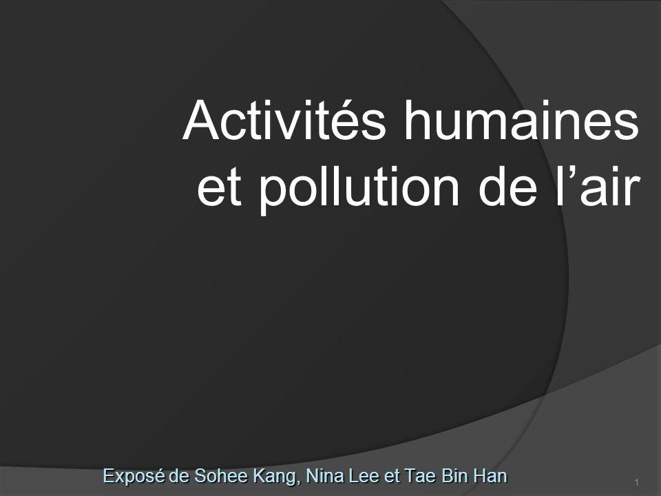 1 Exposé de Sohee Kang, Nina Lee et Tae Bin Han Activités humaines et pollution de lair