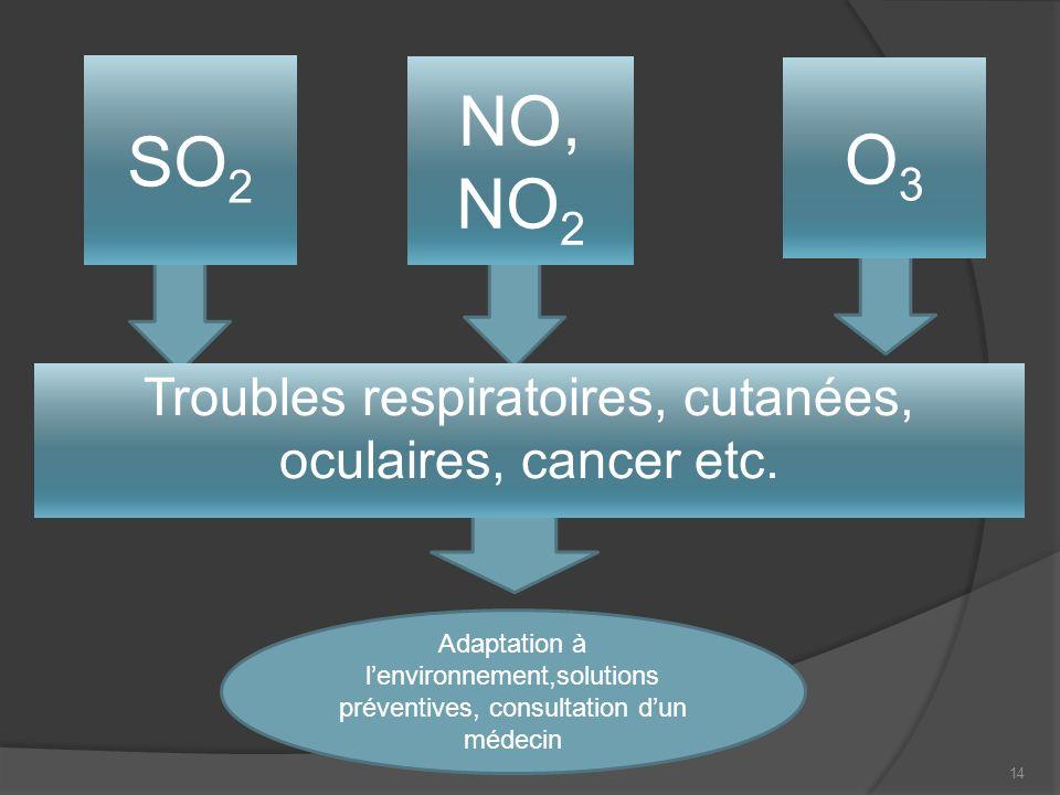 14 Troubles respiratoires, cutanées, oculaires, cancer etc.