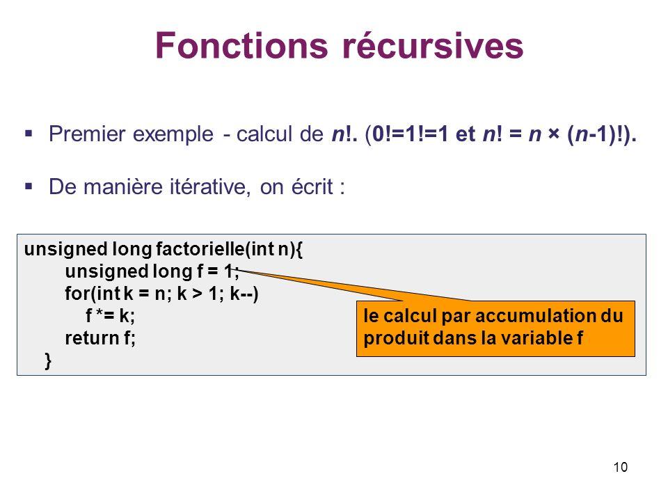 10 Fonctions récursives Premier exemple - calcul de n!. (0!=1!=1 et n! = n × (n-1)!). De manière itérative, on écrit : unsigned long factorielle(int n
