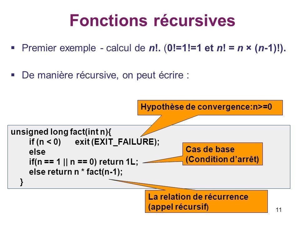 11 Fonctions récursives Premier exemple - calcul de n!. (0!=1!=1 et n! = n × (n-1)!). De manière récursive, on peut écrire : unsigned long fact(int n)