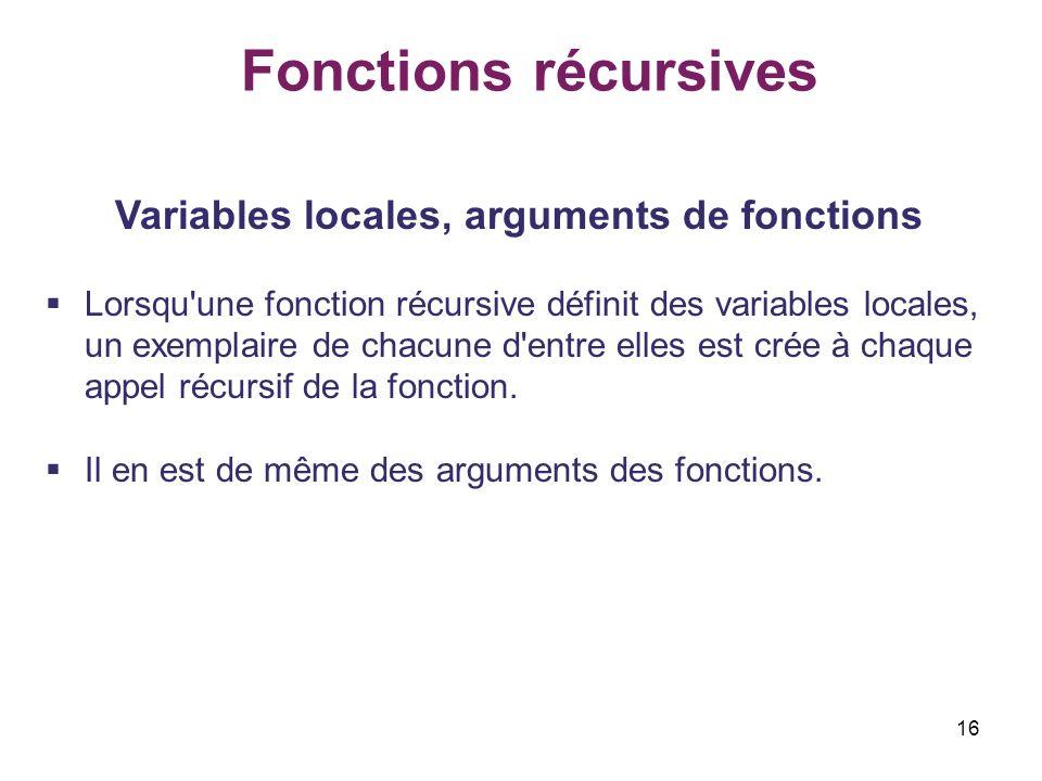 16 Fonctions récursives Variables locales, arguments de fonctions Lorsqu'une fonction récursive définit des variables locales, un exemplaire de chacun
