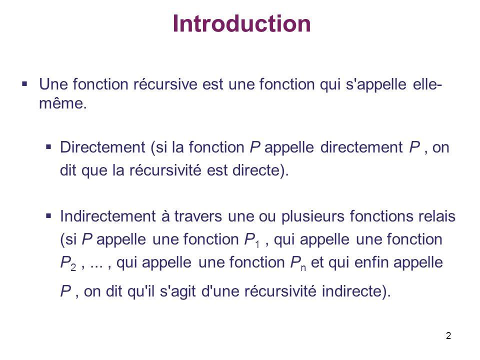 2 Introduction Une fonction récursive est une fonction qui s'appelle elle- même. Directement (si la fonction P appelle directement P, on dit que la ré