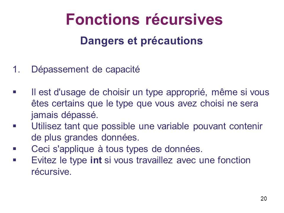 20 Fonctions récursives Dangers et précautions 1.Dépassement de capacité Il est d'usage de choisir un type approprié, même si vous êtes certains que l