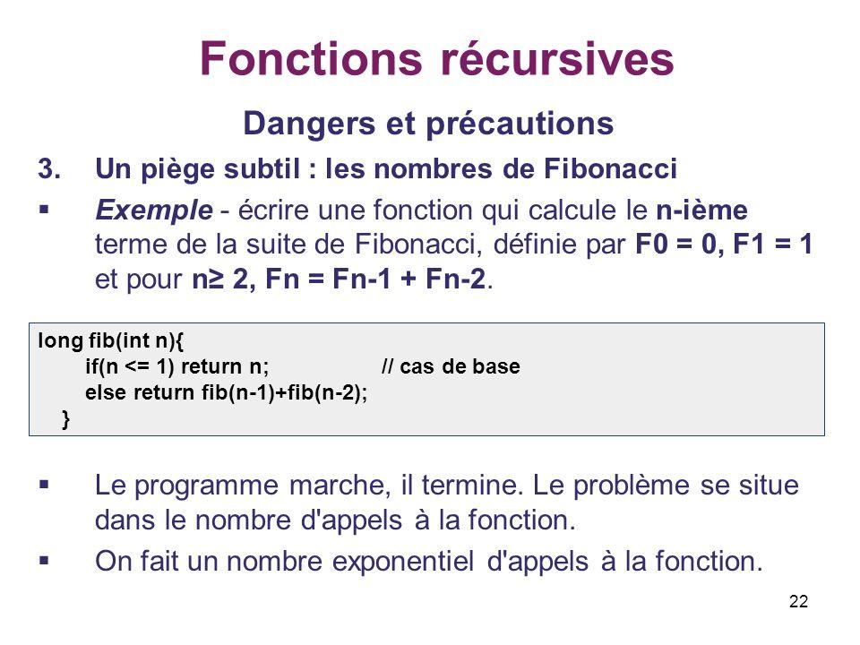 22 Fonctions récursives Dangers et précautions 3.Un piège subtil : les nombres de Fibonacci Exemple - écrire une fonction qui calcule le n-ième terme