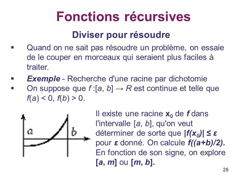 25 Fonctions récursives Diviser pour résoudre Quand on ne sait pas résoudre un problème, on essaie de le couper en morceaux qui seraient plus faciles