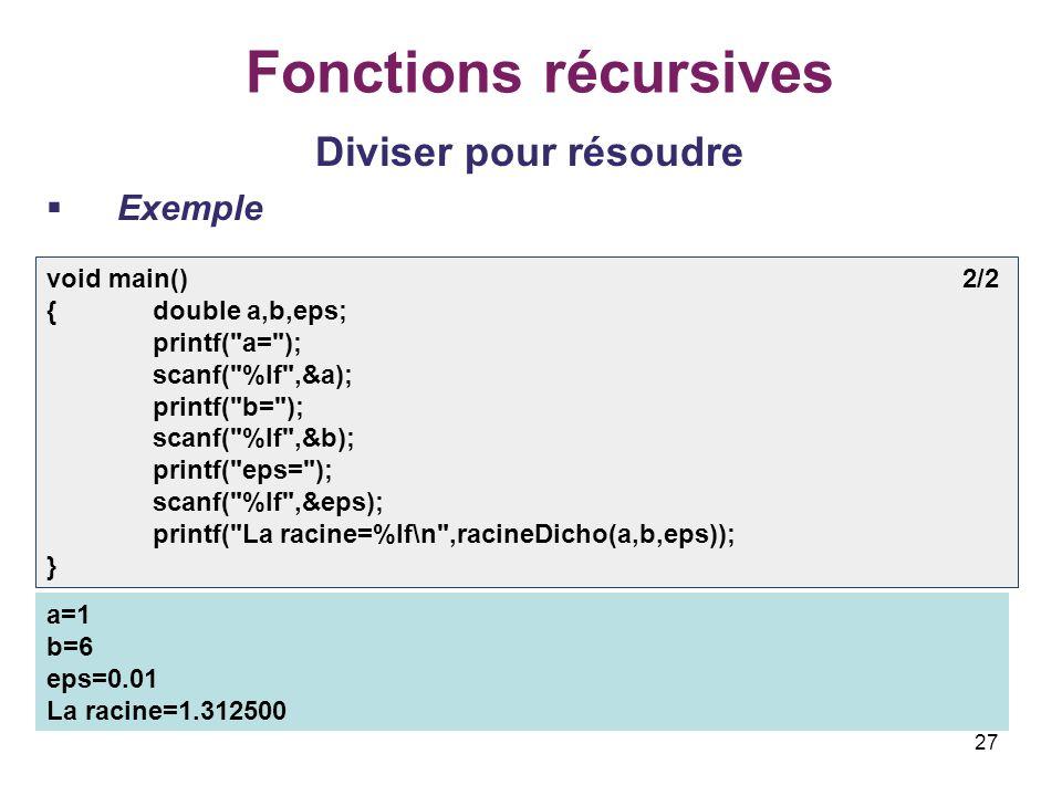 27 Fonctions récursives Diviser pour résoudre Exemple void main() 2/2 {double a,b,eps; printf(