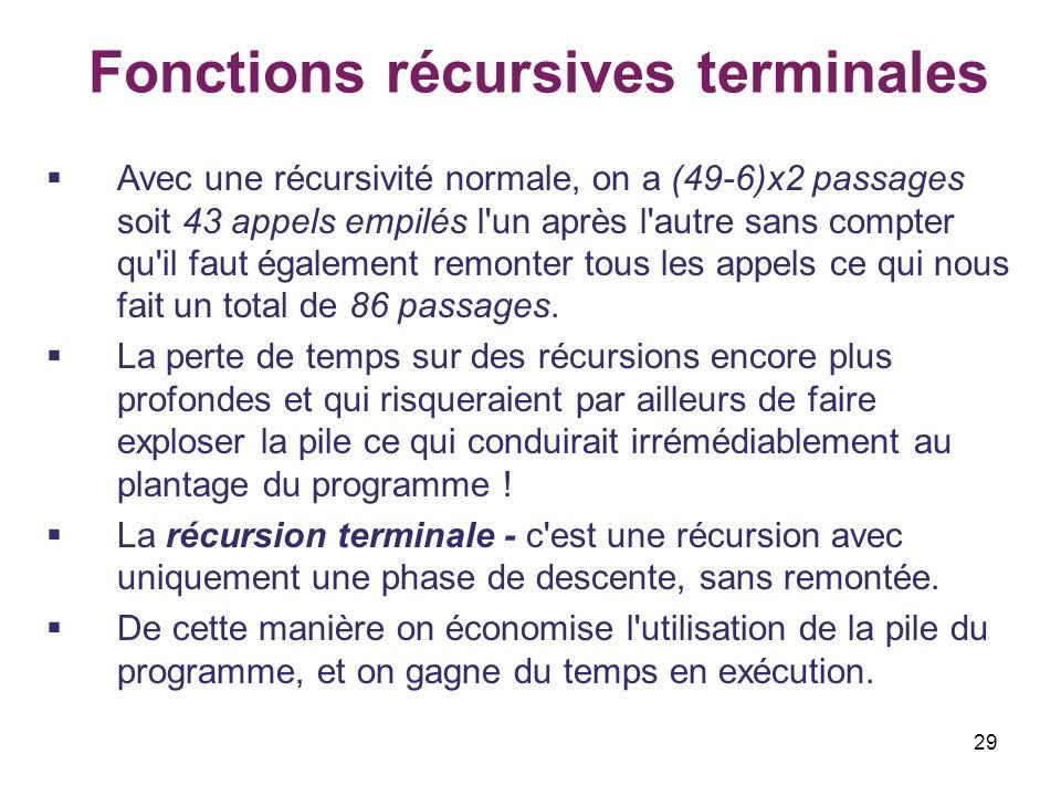 29 Fonctions récursives terminales Avec une récursivité normale, on a (49-6)x2 passages soit 43 appels empilés l'un après l'autre sans compter qu'il f