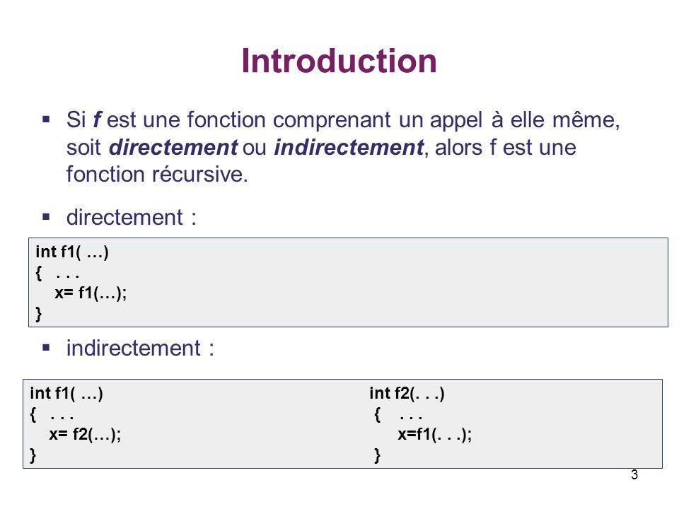 3 Introduction Si f est une fonction comprenant un appel à elle même, soit directement ou indirectement, alors f est une fonction récursive. directeme