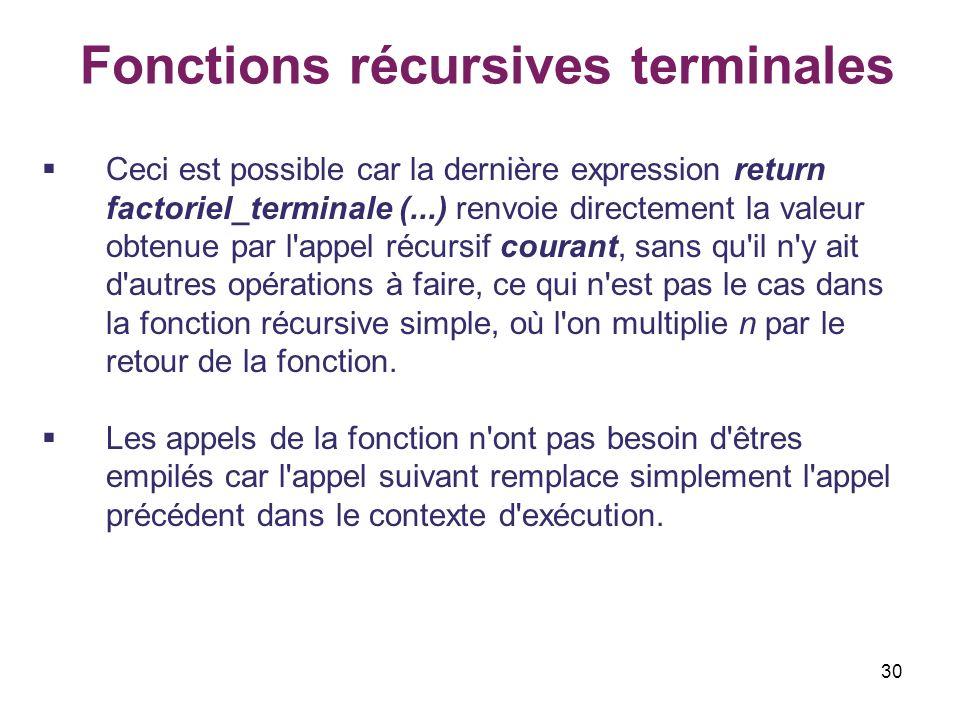 30 Fonctions récursives terminales Ceci est possible car la dernière expression return factoriel_terminale (...) renvoie directement la valeur obtenue