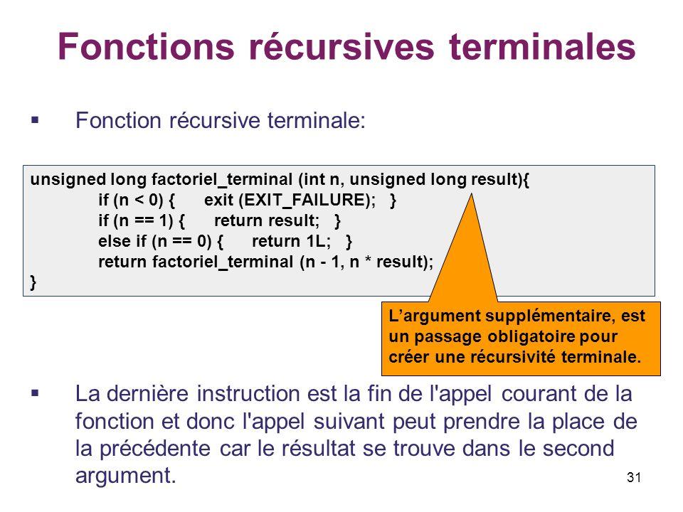 31 Fonctions récursives terminales Fonction récursive terminale: La dernière instruction est la fin de l'appel courant de la fonction et donc l'appel