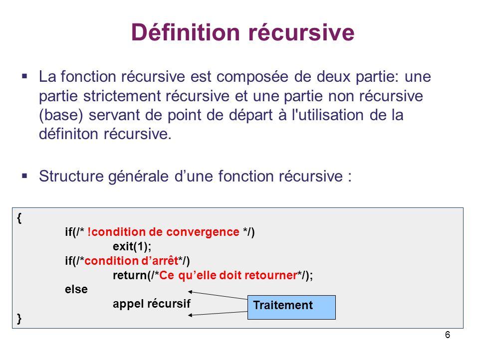 6 Définition récursive La fonction récursive est composée de deux partie: une partie strictement récursive et une partie non récursive (base) servant