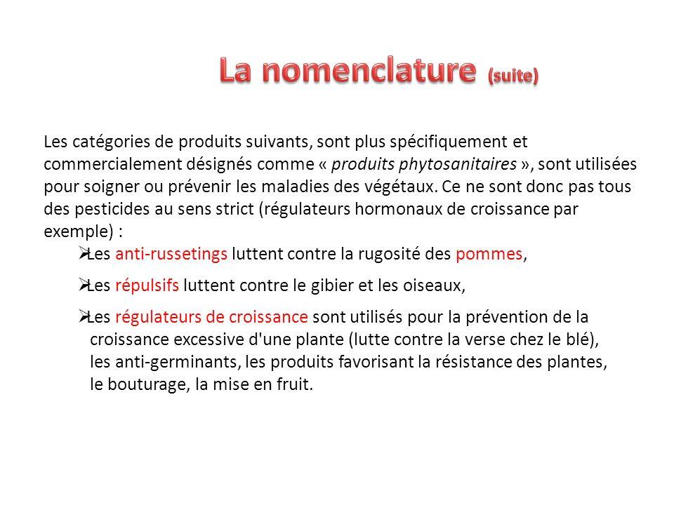 Les catégories de produits suivants, sont plus spécifiquement et commercialement désignés comme « produits phytosanitaires », sont utilisées pour soig