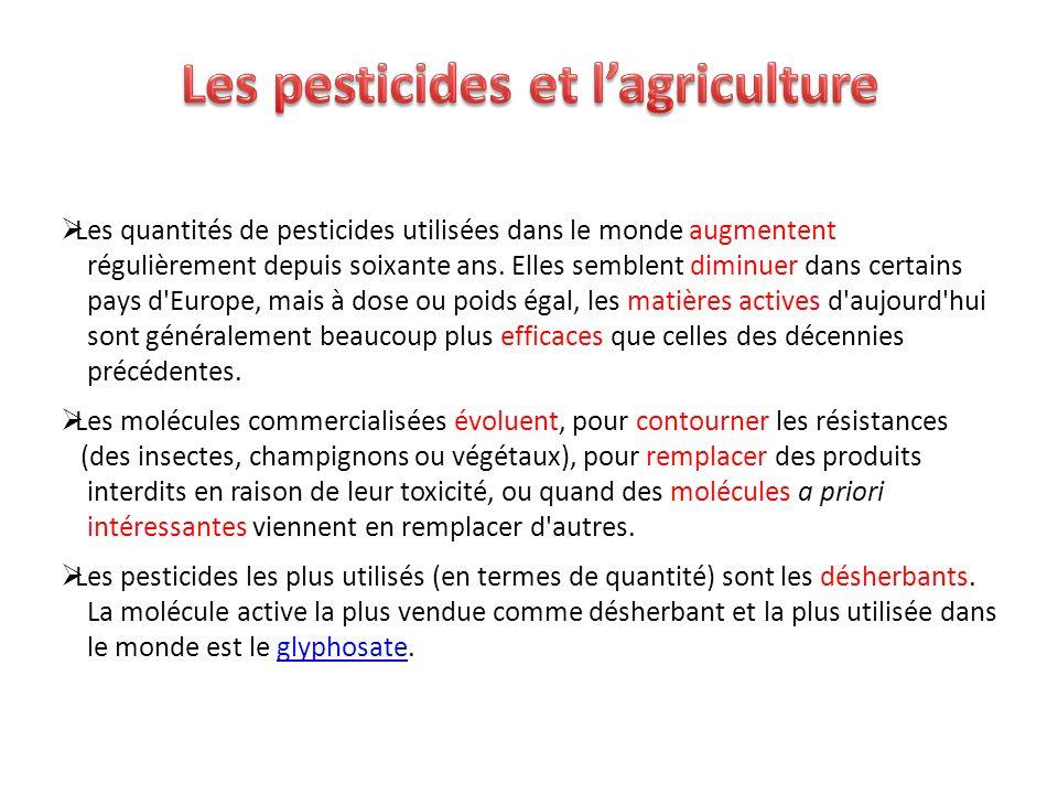 Les quantités de pesticides utilisées dans le monde augmentent régulièrement depuis soixante ans. Elles semblent diminuer dans certains pays d'Europe,