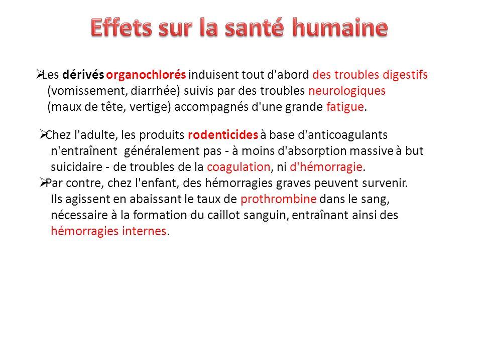 Les dérivés organochlorés induisent tout d'abord des troubles digestifs (vomissement, diarrhée) suivis par des troubles neurologiques (maux de tête, v