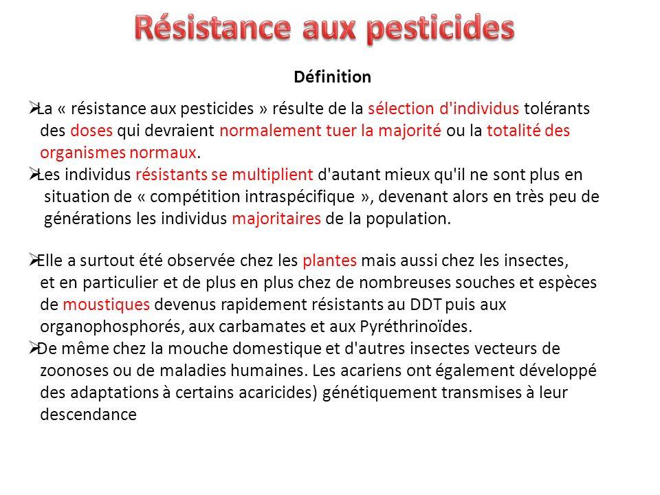 Définition La « résistance aux pesticides » résulte de la sélection d'individus tolérants des doses qui devraient normalement tuer la majorité ou la t