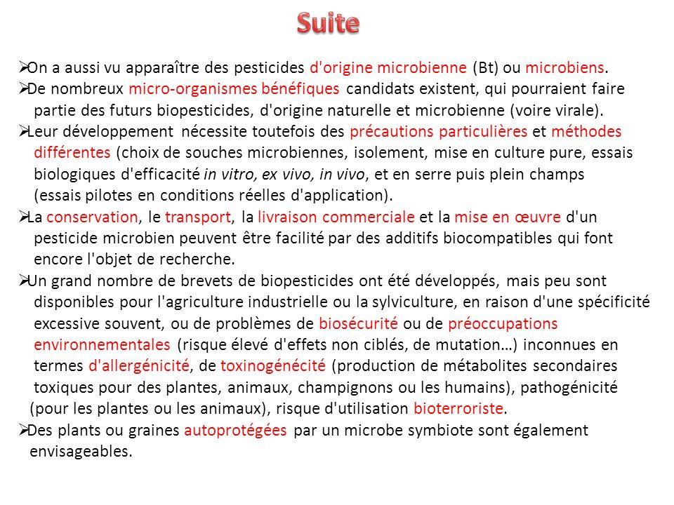 On a aussi vu apparaître des pesticides d'origine microbienne (Bt) ou microbiens. De nombreux micro-organismes bénéfiques candidats existent, qui pour