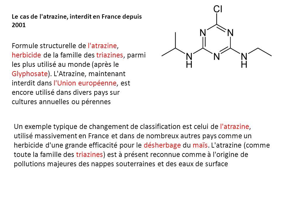 Formule structurelle de l'atrazine, herbicide de la famille des triazines, parmi les plus utilisé au monde (après le Glyphosate). L'Atrazine, maintena