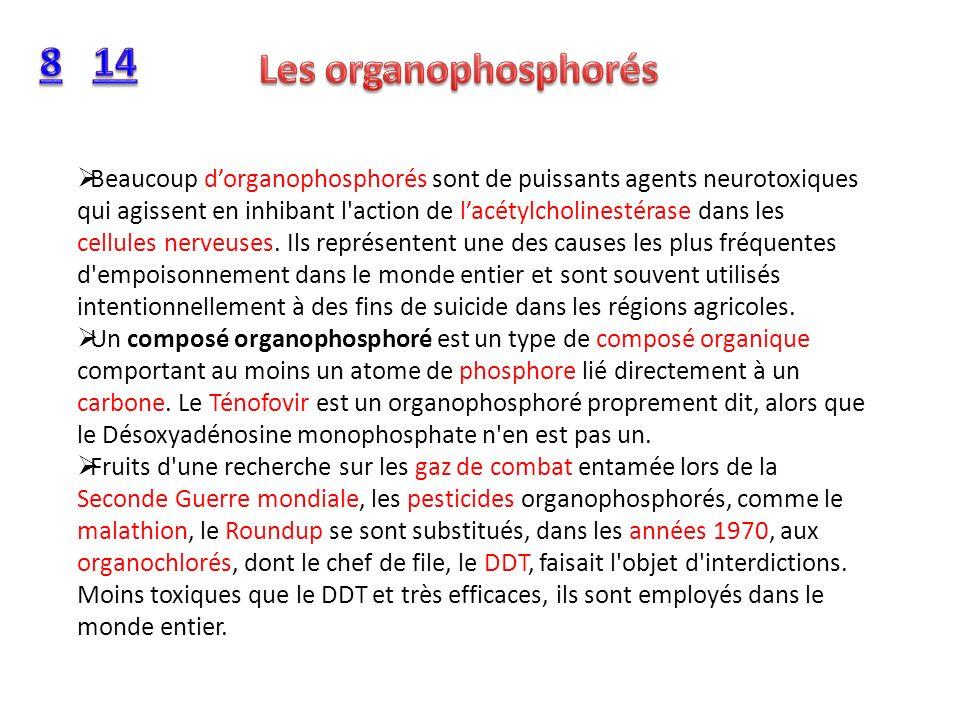 Beaucoup dorganophosphorés sont de puissants agents neurotoxiques qui agissent en inhibant l'action de lacétylcholinestérase dans les cellules nerveus
