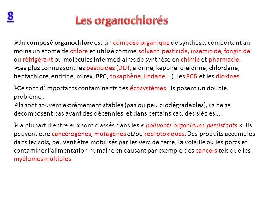 Un composé organochloré est un composé organique de synthèse, comportant au moins un atome de chlore et utilisé comme solvant, pesticide, insecticide,