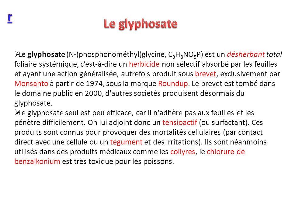 Le glyphosate (N-(phosphonométhyl)glycine, C 3 H 8 NO 5 P) est un désherbant total foliaire systémique, cest-à-dire un herbicide non sélectif absorbé