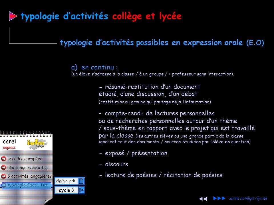 plan langues vivantes typologie dactivités 5 activités langagières le cadre européen carel anglais cycle 3 clg/lyc pdf typologie dactivitéscollège et