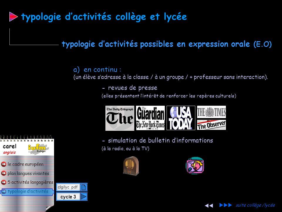 plan langues vivantes typologie dactivités 5 activités langagières le cadre européen carel anglais typologie dactivités a) en continu : (un élève sadr